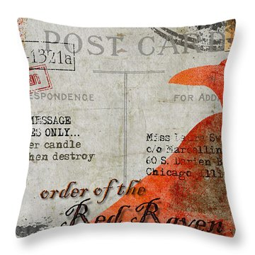 Order Of The Red Raven Faux Poste Throw Pillow