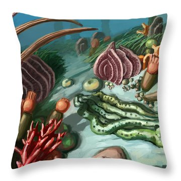 Ordovician Period Scene Throw Pillow by Spencer Sutton