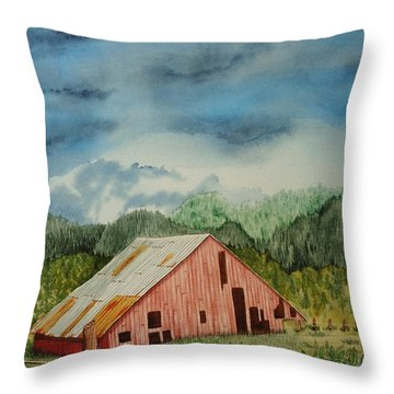 Throw Pillow featuring the painting Oregon Barn by Katherine Young-Beck