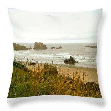 Oregon Beach Throw Pillow by Kenneth De Tore