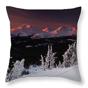 Throw Pillow featuring the photograph Oregon Cascades Winter Sunset by Kevin Desrosiers