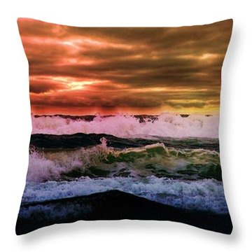 Aaron Berg Photography Throw Pillow featuring the photograph Ocean Storm by Aaron Berg