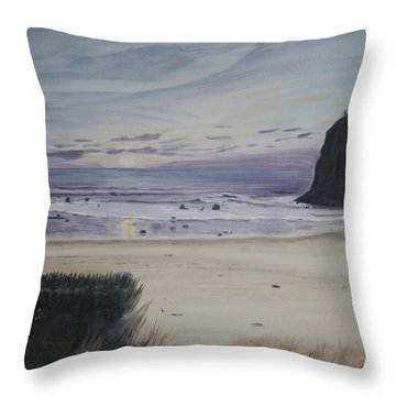 Throw Pillow featuring the painting Oregon Coast by Ian Donley