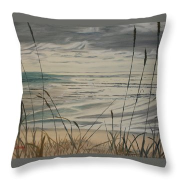 Throw Pillow featuring the painting Oregon Coast With Sea Grass by Ian Donley