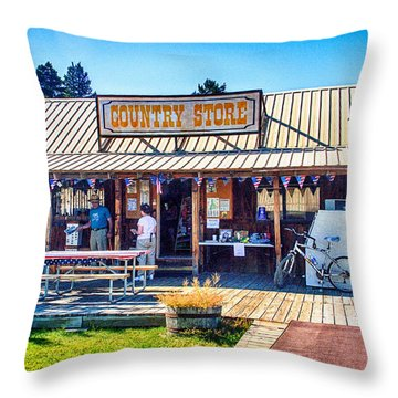 Oregon Country Store Throw Pillow by Bob and Nadine Johnston