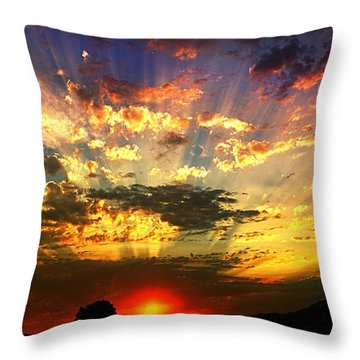 Oregon Crepuscular Sunset Throw Pillow by Nick Kloepping
