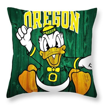 Oregon Ducks Barn Door Throw Pillow by Dan Sproul