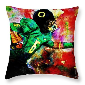 Oregon Football 3 Throw Pillow by Michael Cross