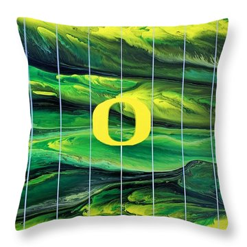 Oregon Football Throw Pillow by Michael Cross