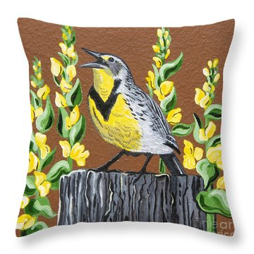 Throw Pillow featuring the painting Oregon Meadowlark by Jennifer Lake