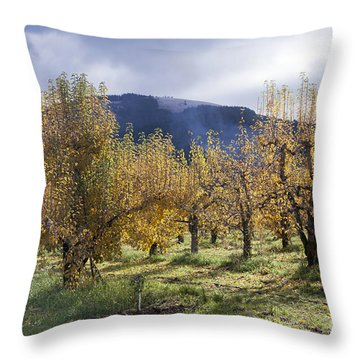 Oregon Orchard Throw Pillow by Peter French