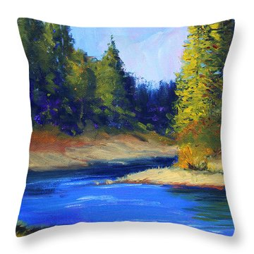 Oregon River Landscape Throw Pillow