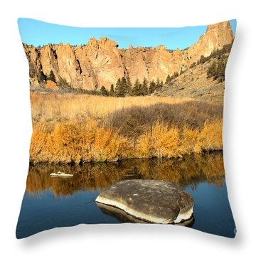 Oregon River Rock Reflections Throw Pillow