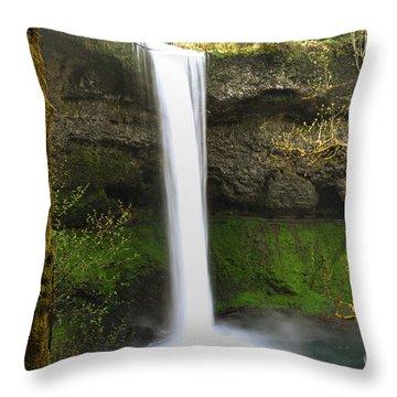 Oregon Waterfall Woodland Throw Pillow by Andrea Hazel Ihlefeld