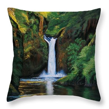 Throw Pillow featuring the painting Oregon's Punchbowl Waterfalls by Sharon Duguay