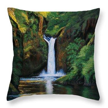 Oregon's Punchbowl Waterfalls Throw Pillow