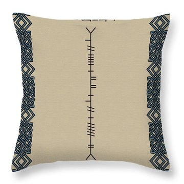 Throw Pillow featuring the digital art O'reilly Written In Ogham by Ireland Calling