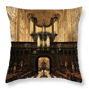 Organ And Choir - King's College Chapel Throw Pillow by Stephen Stookey