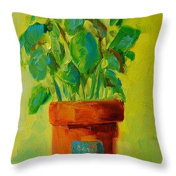 Organic Basil Plant Still Life Throw Pillow by Patricia Awapara
