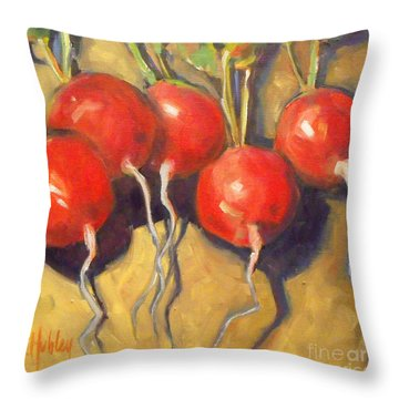 Organic Radishes Still Life Throw Pillow by Mary Hubley