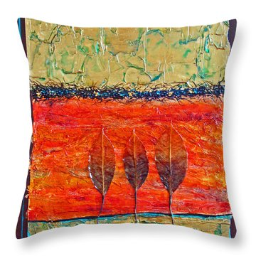 Organic With Three Leaves Throw Pillow
