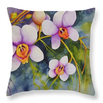Orchids In My Garden Throw Pillow