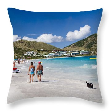 Orient Beach In St Martin Fwi Throw Pillow by David Smith