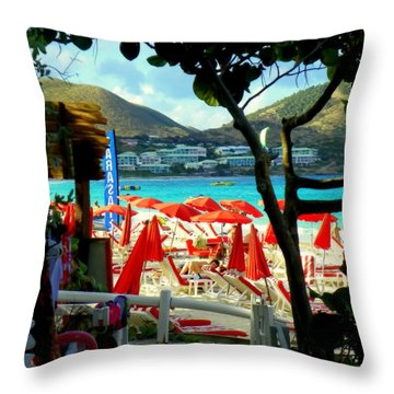 Orient Beach Peek Throw Pillow by Karen Wiles