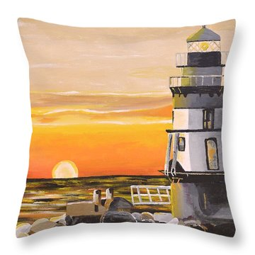 Orient Point Lighthouse Throw Pillow by Donna Blossom