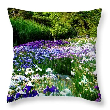 Oriental Ensata Iris Garden Throw Pillow by Carol F Austin