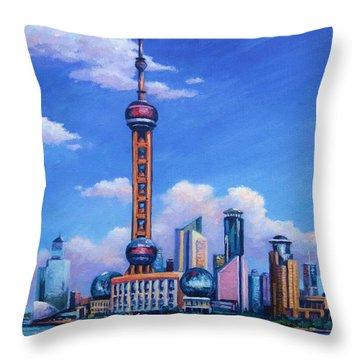 Oriental Pearl Shanghai Throw Pillow