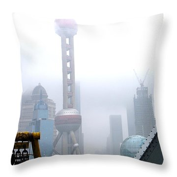 Oriental Pearl Tower Under Fog Throw Pillow