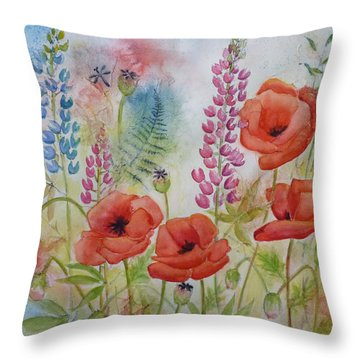 Oriental Poppies Meadow Throw Pillow by Carla Parris
