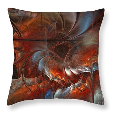 Oriental Sumptuousness-floral Fractal Design Throw Pillow by Karin Kuhlmann