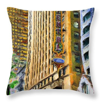 Oriental Theater Of Chicago Throw Pillow by Ely Arsha