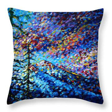 Original Abstract Impressionist Landscape Contemporary Art By Madart Mountain Glory Throw Pillow