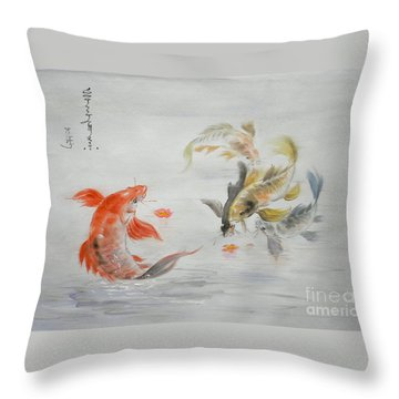 Original Animal  Oil Painting Art- Goldfish Throw Pillow