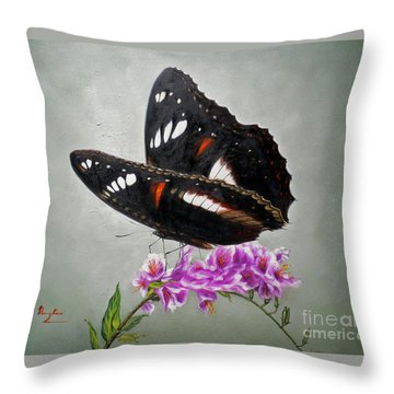 Original Animal Oil Painting Art-the Butterfly#16-2-1-09 Throw Pillow