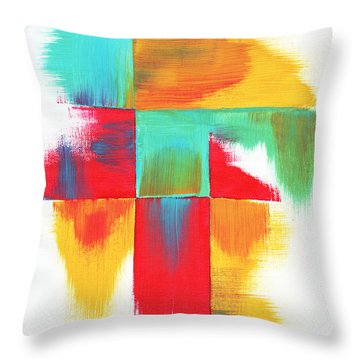 Original Bold Colorful Abstract Painting Indecisive By Madart Throw Pillow by Megan Duncanson