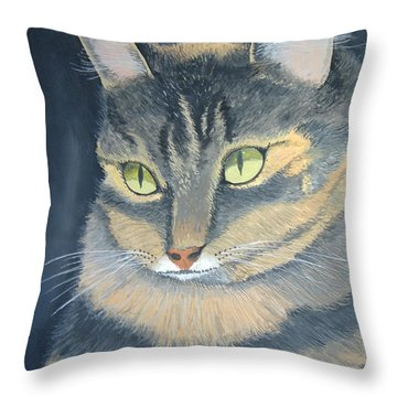Original Cat Painting Throw Pillow by Norm Starks