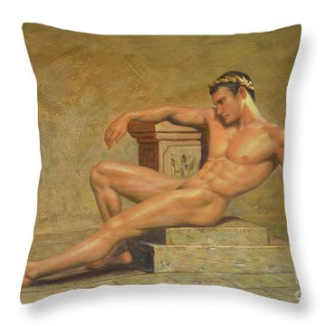 Original Classic Oil Painting Gay Man Body Art Male Nude -023 Throw Pillow