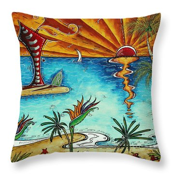 Original Coastal Surfing Whimsical Fun Painting Tropical Serenity By Madart Throw Pillow by Megan Duncanson