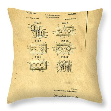 Original Patent For Lego Toy Building Brick Throw Pillow