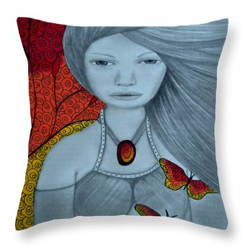 Original Pencil Drawing Art The Wind Of The Spirit 2 By Saribelle Rodriguez Throw Pillow by Saribelle Rodriguez