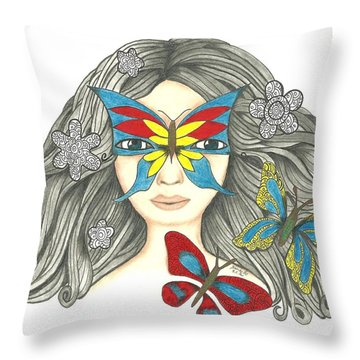 Original Pencil Drawing Hiding Me 2 By Saribelle Rodriguez Throw Pillow by Saribelle Rodriguez
