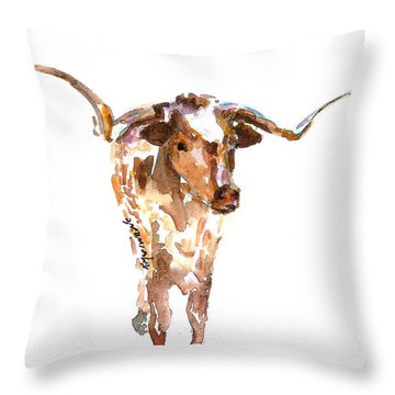 Original Longhorn Standing Earth Quack Watercolor Painting By Kmcelwaine Throw Pillow by Kathleen McElwaine