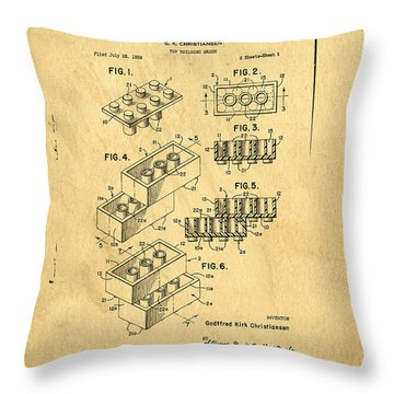 Throw Pillow featuring the digital art Original Us Patent For Lego by Edward Fielding
