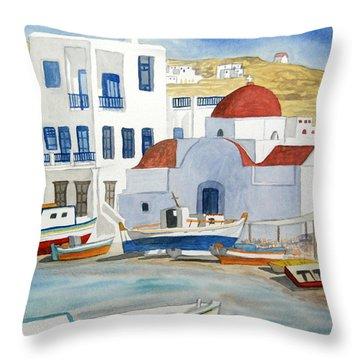 Watercolor - Mykonos Greece Detail Throw Pillow