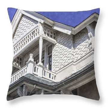 Ornate Balcony With View Throw Pillow by Lynn Palmer