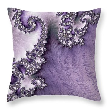 Ornate Lavender Fractal Abstract One  Throw Pillow by Heidi Smith